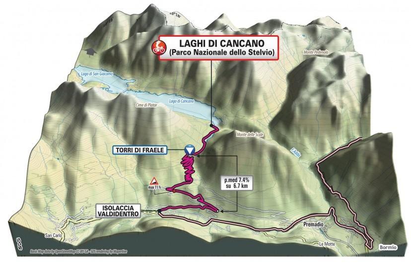 Manifestazione a Bormio con il Giro d'Italia. Tappa con  arrivo a Cancano passando dallo Stelvio